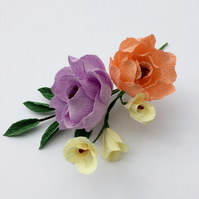 Peony Style Paper Flower and Foliage Buttonhole in Lilac, Peach and Yellow