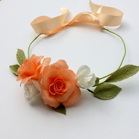 Peach and White Paper Rose Flower Crown Hairpiece