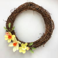 Spring Flower Wreath featuring Daffodils and Blossom Handmade from Paper