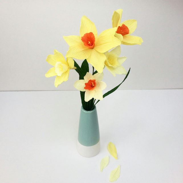 5 Handmade Paper Daffodils- Easter Gift, Spring Collection, Lasting Flowers