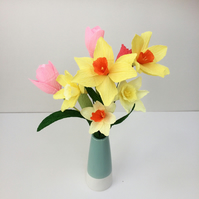 Daffodils and Tulips Handmade Paper Flowers- Easter Spring Collection