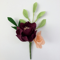Paper Flower Buttonhole-Corsage. Peony and Rose Wedding accessory