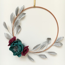 Floral hoop with Silver Leaves and Teal and Burgundy Flowers- Christmas Wreath