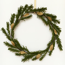 Christmas Indoor Wreath- Festive Home Decoration- Green Spruce & Metallic Leaves