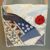 messenger bag with crazy patchwork fabric