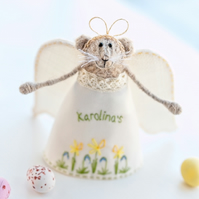 Personalised Easter Gift, Mouse Angel, Knitted Mous doll, Spring home decoration