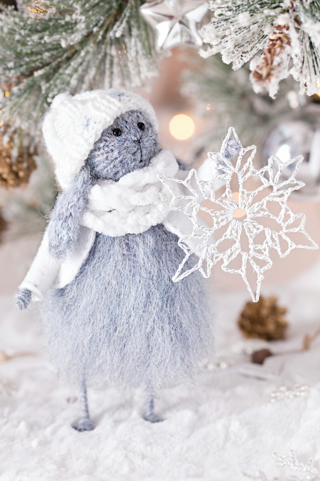 Christmas Rabbit knitted doll