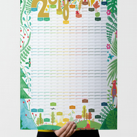 Large Illustrated 2018 Wall Calendar, Year Planner, Home Office Decor, Wall Art