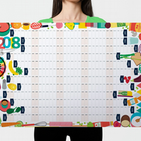 2018 Wall Calendar Planner, Kitchen Planner, Food Illustration, 2018 Calendar