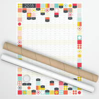 Large Wall Planner, Mid Century Print, 2018 Calendar, 2018 Year Planner
