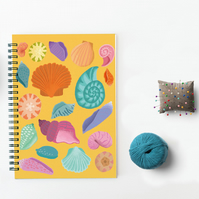 Notebook, Seashells, Spiral Notebook, Journal, Notepad, Stocking Filler