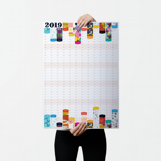 2019 wall planner  large a2 wall calendar  year