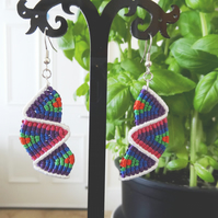 Earrings - balanced zig zag in bright colours with white (E003)