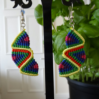 Earrings - balanced zig zag in bright colours with yellow (E001)
