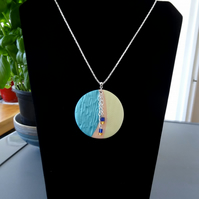 Necklace - Textured Polymer Clay Pendant  (N002)