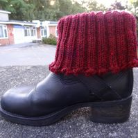 Boot toppers - Picots in maroon   (BT01)