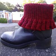 Boot toppers - Bells in maroon   (BT02)