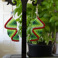 Earrings - top down zig zag in shades of green with maroon (E0009)