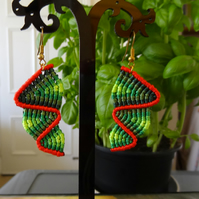 Macrame Earrings - top down zig zag in various shade of green with rust (E012)