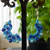 Earrings - Crescent style in blue  (E013)