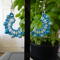 Earrings - Crescent style in blue and white (E016)