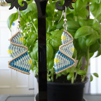Macrame Earrings - bottom up zig zag in blues and yellow with silver (E005)