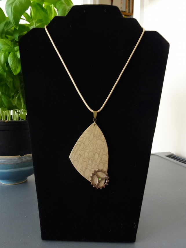 Necklace - Bronze Holographic Crazy Pave Pendant  (N004)
