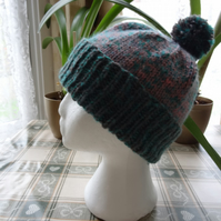 Bobble Hat in Grey, Rose and Green   (H001)