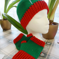 Hat and Mitt Set - Green and Sparkling Red  (HM001)