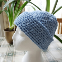 Cotton Chenille Crocheted Hat in Light Blue  (H005)