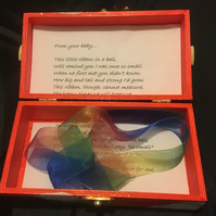 New Baby Keepsake Box with Poem and Ribbon