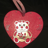 Baby girl wooden hanging heart