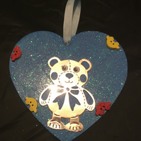Baby boy wooden hanging heart. Can be personalised