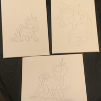 3 A4 size canvas Unicorn drawings to decorate