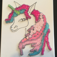 Stunning unicorn button and jewel canvas