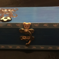 New Baby Boy Personalised Keepsake Box With Special Poem and Ribbon