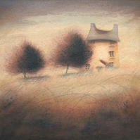 Sheltered - Framed Original Acrylic Landscape, House, Cottage, Tree Painting