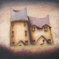 Best of Friends - Framed Original Acrylic Architecture, House, Cottage Painting