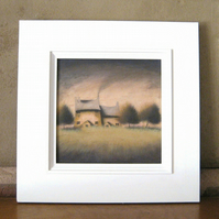 In For The Night - Framed Original Acrylic Landscape House Cottage Tree Painting
