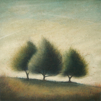 Three Trees - Unframed Original Acrylic Landscape Painting, Free Shipping