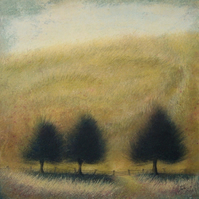Hillside - Unframed Original Acrylic Landscape, Tree Painting, Free Shipping