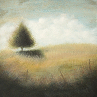 Peace & Quiet - Unframed Original Acrylic Landscape Tree Painting, Free Shipping