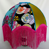 Calaveras vintage fringed patchwork lampshade