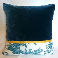 Chinese teal velvet, toile linen and yellow ribbon cushion
