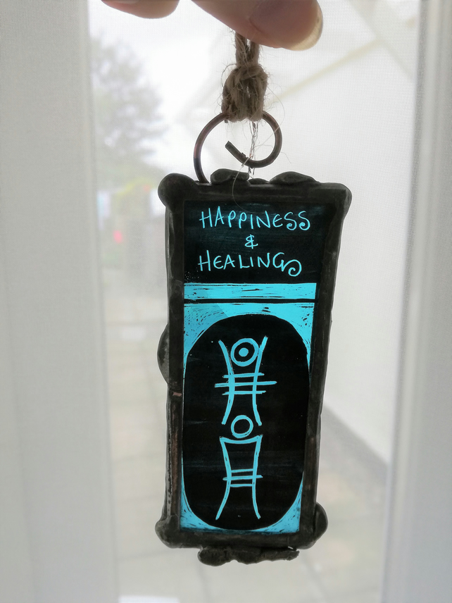 Stained Glass Happiness & Healing Sigil with blue coloured glass.