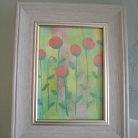 Pink Glittered Flowers Painted Canvas, Framed