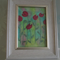 Raspberry Coloured Painted Flowers, Framed Canvas