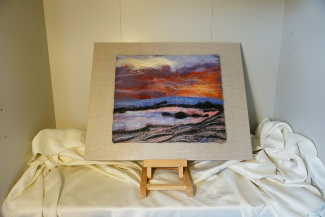 Needle felt Painting - The Setting Sun On Midsummers Eve