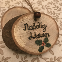 Beautiful handcrafted pyrography Christmas decoration