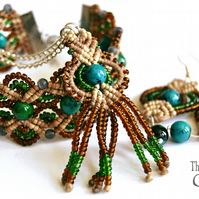 Macrame chrysocolla beaded jewellery set: necklace, bracelet and earrings